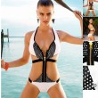 Stylish One Piece Zipper Wireless Halter Strapped Bikinis