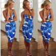 New Fashion Sexy Deep V Floral Printing Blue Dress