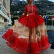 Attractive Perspective Sleeved Red Long Lace Dress