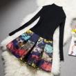 Slim Sweater Top Stitching Printed Dress