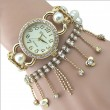 Nice Pearl Beaded Diamond Chain Tassel Bracelet Watch