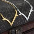 Unique Silver Antler Pendant Necklace