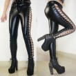 Girl's Punk Club Lines Lace-up Side High Slit Faux Leather Rivets Leggings