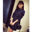 Fashion Lapel Waist Solid Color Denim Dress