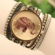 Hollow Elephant Pattern Diamond Rivet Leather Belt Bracelet Watch
