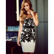 Elegant Black Rose Printing Stitching Gauze Backless Dress