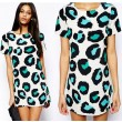 Cool Leopard Print Short Sleeve Cotton Dress