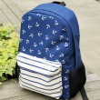 Navy Striped Anchor Print Backpack & School Bag