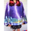 Unique Purple Lightning Printed Gradient Sleeve Sweater