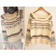 New Vintage Chocolate Geometric Graphic Thick Loose Sweater&Cardigan