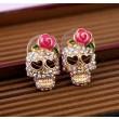 Vintage Cool Rose Skull Love Earrings Studs