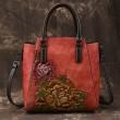 Retro Handmade 3D Peony Handbag Original Flower Leather Shoulder Bag