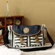 Navy College Striped Canvas Shoulder Bag Messenger Bag
