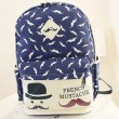 Cute Moustache College Canvas Backpack
