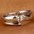 Romantic Platinum Plated Zircon Couple Ring