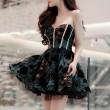 Sexy Low Cut Lace Bubble Evening Dress Party Dress