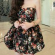 Slim Floral Print Winter Dress Party Dress