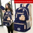Floral Print Canvas Student Bag School Bag Backpack