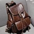 Vintage Buckles Leather Student Bag Backpacks