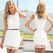 Sweet Slim Floral White Lace Dress