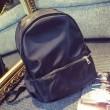 Leisure Simple Solid Waterproof School Bag Metal Zippers Travel Backpack