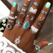 Retro Moon Flower Star Eyes Alloy Carved Turquoise 16 Piece Set Combination Lady Rings