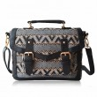 Retro Elegant Wavy Lines Double Hasp Messenger Bag HandBag Shoulder Bag