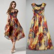 Fashion Colorful Ladies Layered Round Neck Chiffon Dress
