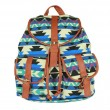 Vintage Drawstring Double Hasp Geometry Pattern Rucksack Backpack