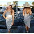 Slim Black And White Striped Irregular Package Hip Dress