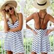 Sexy Black And White Stripes Loose V-neck Halter Dress