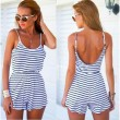 Stripe Halter Braces Backless Slim Wasit One Piece Jumpsuit&Romper