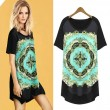 Vintage Floral Pattern Asymmetrical Hem Loose Short Sleeve Long T-shirt