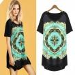 Vintage Floral Pattern Asymmetrical Hem Loose Short Sleeve Long T-shirt