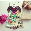 Colorful Floral Lace Braces One Piece Romper&Jumpsuit