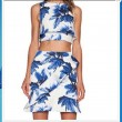Round Neck Hilum Sleeveless Printed Sleeveless Vest + Skirt Tow Piece