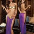Sexy Women's Mesh Long Dress Cosplay Leather Bra Choker Exotic Charm Lingerie