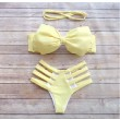 Lemon Yellow Bow Hollow Sexy Tie Bikini