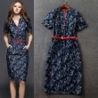 Stylish Slim Short Sleeve Stand Collar Floral Denim Dress