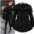 Fashion Black Thickening Slim Elastic Waist Belt Parkas Down Jacket Cotton-padded Jacket Feather Dress