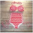 Wave Printing Bow Bikini High Waist Bikinis Push Up Bathing Suit