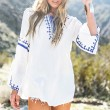 Women's Slit Long Straps Embroidery Printing Trumpet Sleeves Tops