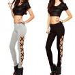 Sexy Black Side High Slit Cross Lines Lace-up Ninth Skinny Girl's Leggings