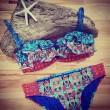 Halter Print Split Bikini Wood Ear Triangle Swimsuits Bikini Set
