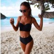 High Waist Black Bandage Push-up Bikini Swimsuit Swimwear