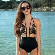 Applique Mesh Halter  Bandage Bikini Set Swimsuit Swimwear One-piece Sexy Bathingsuit