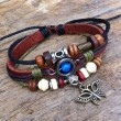 Cute Pearl Butterfly Leather Bracelet