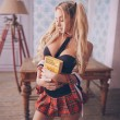 Sexy Student Cosplay Uniform Temptation British Plaid  Women Intimate Lingerie