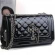 Bright Leather Rhombus Cross Engraving Shoulder Bag&Messenger Bag