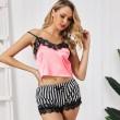 Sexy Striped Black Lace Shorts Shirt Lingerie Stripe Women's Pink Hot Pajamas